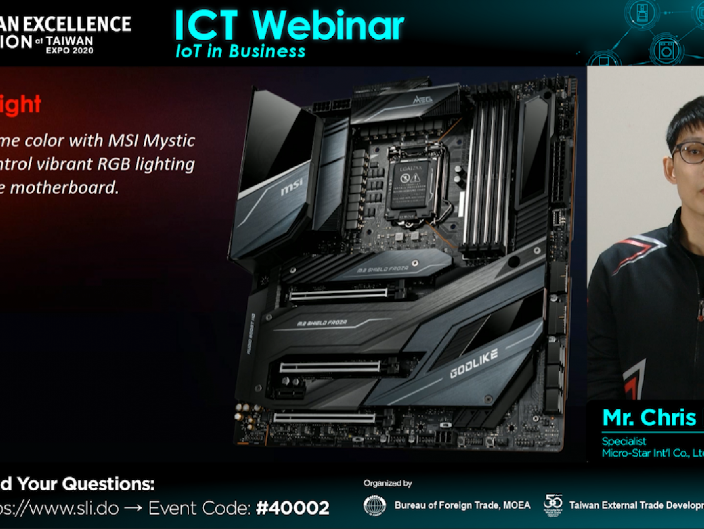 08-Mr. Chris Peng, Specialist, Micro-Star Int'l Co., Ltd. introduced  MSI's comprehensive laptops and gaming products.