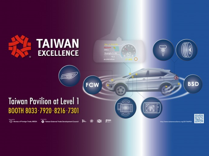 Taiwanese brands will showcase their latest automobile technology, leveraging their ICT competitiveness at AAPEX 2017.