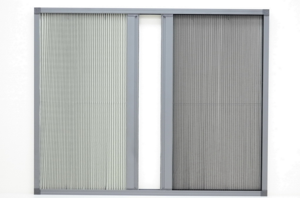 Interlocked Pleated-Mesh & Pleated-Shade Sliding Window Screens / Taroko Door & Windows Technologies, Inc.