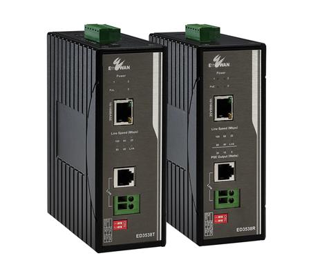 10/100BASE-TX 工業級寬溫型乙太網路電話線供電延伸器 / 益網科技股份有限公司