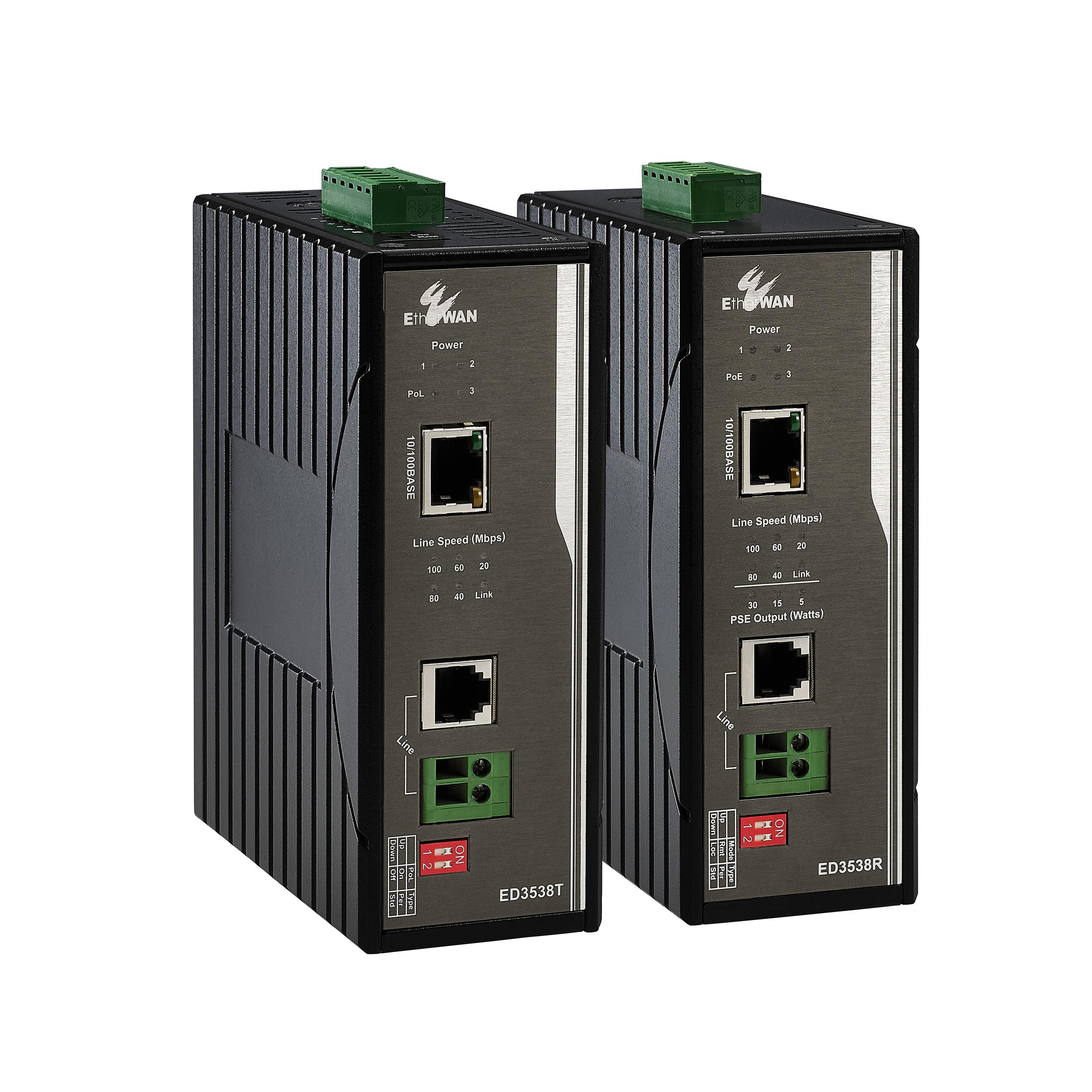 10/100BASE-TX 工業級寬溫型乙太網路電話線供電延伸器