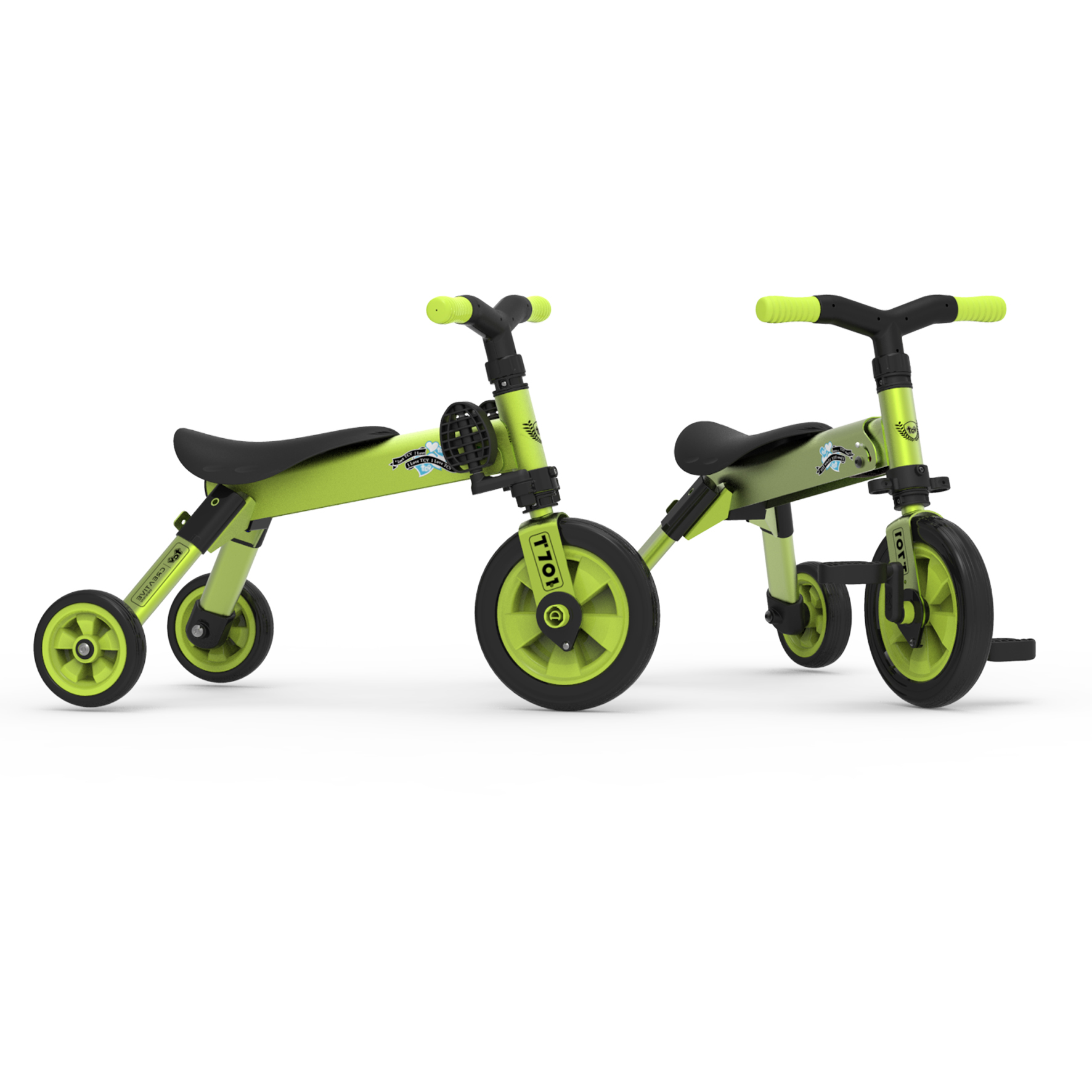 Folding 2 in 1 tricycle balance bike