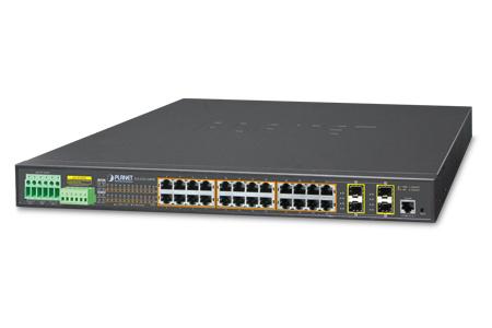 工業級24埠802.3at PoE 附加光纖插槽機架式網管交換器 / 普萊德科技股份有限公司