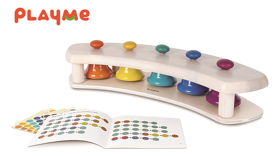 PlayMe Toys International Corp.-PAT BELLS SHELF - 5 Bells in a Pentatonic Scale